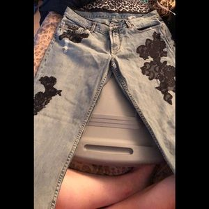 Express X2 distressed denim beaded & lace detail